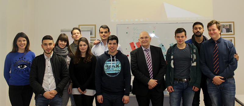 Dr Peter Huber with Globe College students