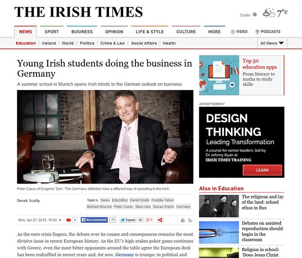 Peter Casey Interview, Irish Times